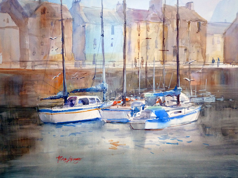 Waiting at Arbroath Harbour